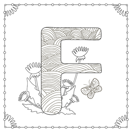 Alphabet Coloring Page Capital Letter F With Flowers Leaves