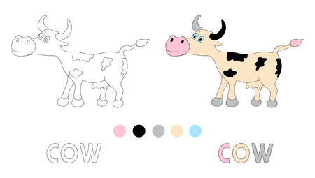 Coloring Page For Children With Cow And Hand Draw Letters Vector