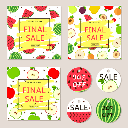 Final sale posters, banners, label - colorful vector set with fruits. Illustration