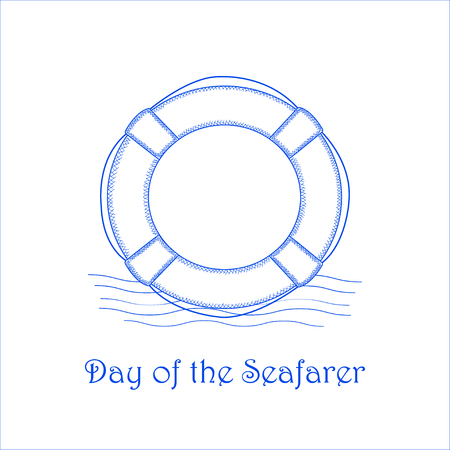 """""""Day of the Seafary"""" - the vector background with the blue lifebuoy"""