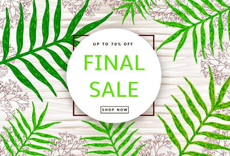 Las hojas y ramas verdes en el fondo de madera. Cartel de venta final, banner. Ilustración vectorial Ilustración de vector