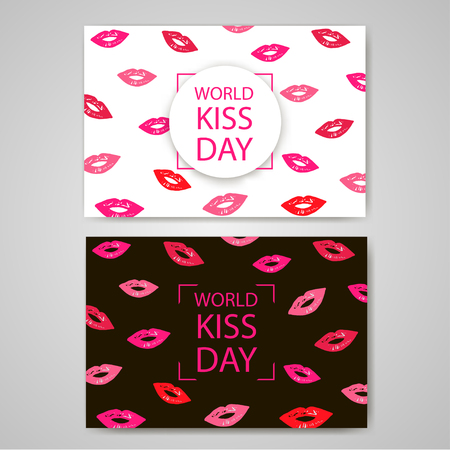 desires: World Kiss Day. Colorful lips on the white and black backgrounds. Vector illustration
