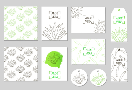 Aloe Vera set - the seamless patterns, cards, tags, labels. Vector illustration.