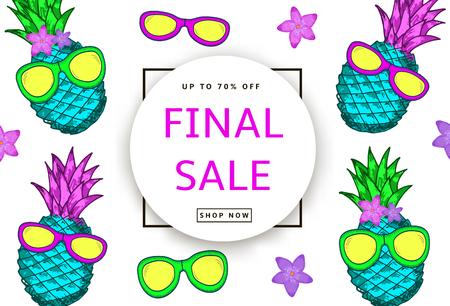 손으로 그려진 된 다채로운 파인애플, sunglassses 및 흰색 배경에 꽃. 최종 판매 배너, 포스터. 벡터 일러스트 레이 션