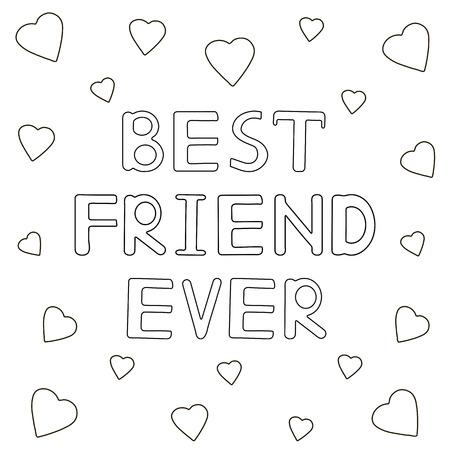 Beste vriend ooit - hand getrokken tekst met harten. Kleurplaat. Vector illustratie