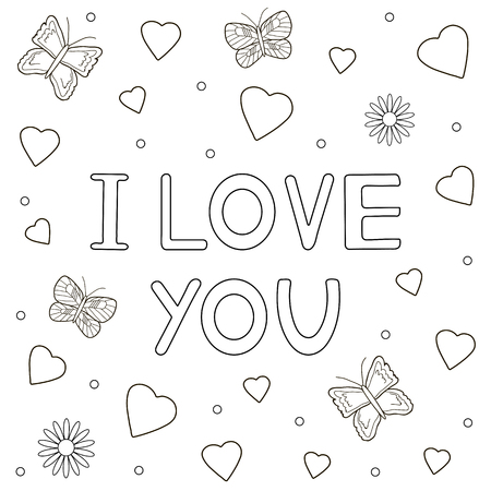 butterfly background: I love you hand drawn text,  hearts and butterflies. Coloring page. Vector illustration