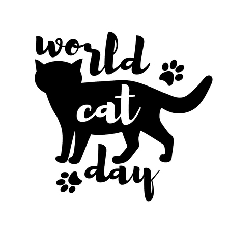 silueta de gato: World cat day background with black cat and text. Vector illustration