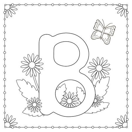 Página Para Colorear Alfabeto. Mayúscula \'P\' Con Las Flores, Las ...