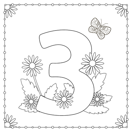 numeric: Numeral three with flowers, leaves and butterfly. Coloring page. Illustration