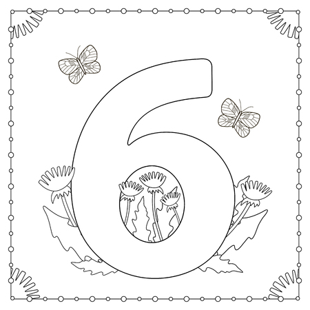 numeric: Numeral Six with flowers, leaves and butterflies. Coloring page. Vector illustration. Illustration