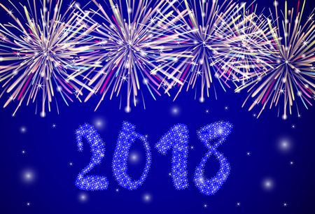 Fireworks colorful vector background - Christmas and New Year. Vector illustration
