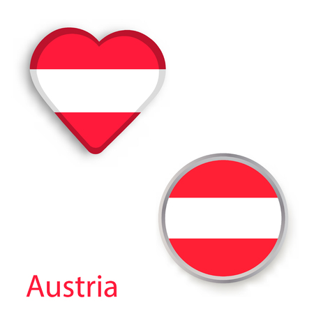 Heart and circle symbols with Austria flag. Vector illustration