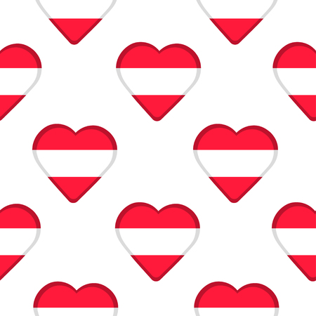 austria flag: Seamless pattern from the hearts  with Austria flag. Vector illustration Illustration