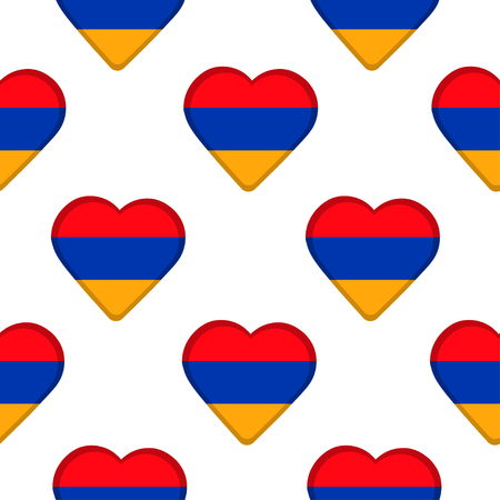 Seamless pattern from the hearts  with Armenia flag. Vector illustration.