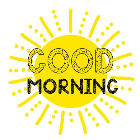 Bom dia - texto criativo manuscrito e ícone de sol. Vector illystration Foto de archivo - 85859027