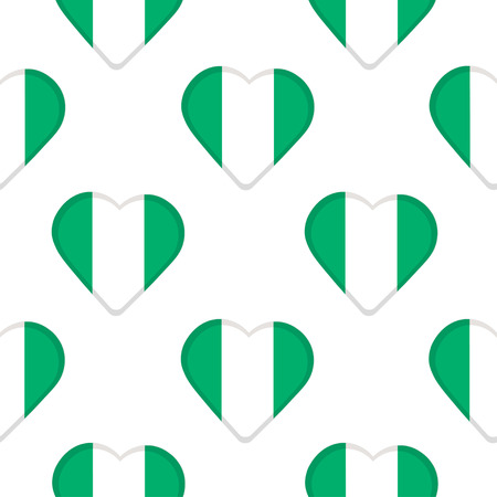 Seamless pattern from the hearts with Nigeria flag. Vector illustration