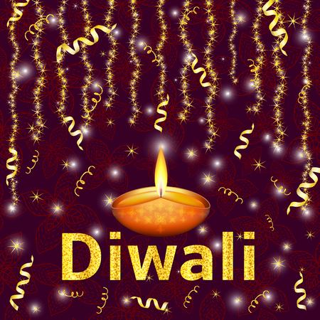 candle: Happy Diwali - traditional Indian festival colorful background with lamp and gold text. Vector illustration