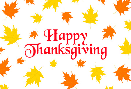 Happy thanksgiving background with colorful leaves. Vector illustration Illustration