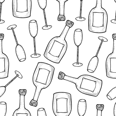 Seamless pattern from the hand drawn champagner bottles and glases. Vector illustration