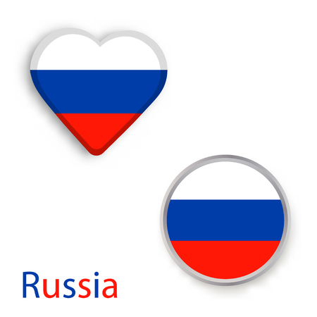 Heart and circle symbols with flag of Russia. Vector illustration Illustration