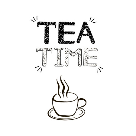Tea time background. Creative handwritten text and cup icon. Vector illustration