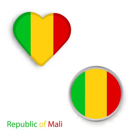 Symboles de coeur et de cercle avec le drapeau République du Mali. Illustration vectorielle
