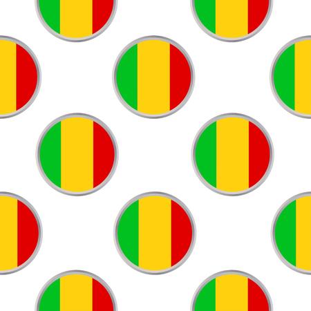 Modèle sans couture des cercles avec le drapeau République du Mali. Illustration vectorielle