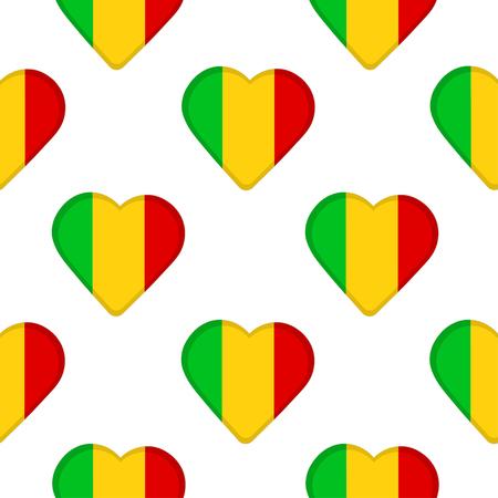 Modèle sans couture des coeurs avec le drapeau République du Mali. Illustration vectorielle