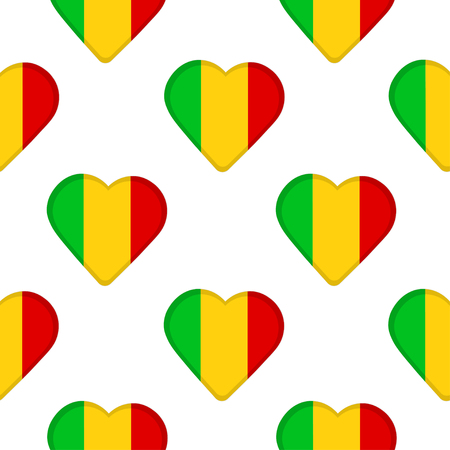 Seamless pattern from the hearts with flag Republic of Mali. Vector illustration