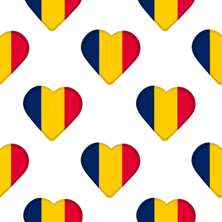 Seamless pattern from the hearts with flag Republic of Chad vector illustration. Illustration