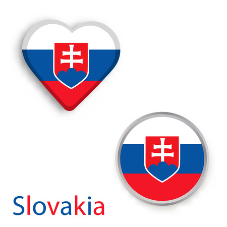 Circle and heart symbols with flag of Slovakia. Illustration