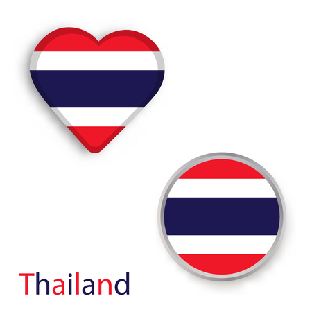 Heart and circle symbols with Flag of Thailand.