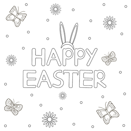 Happy Easter card. Coloring page. Vector illustration