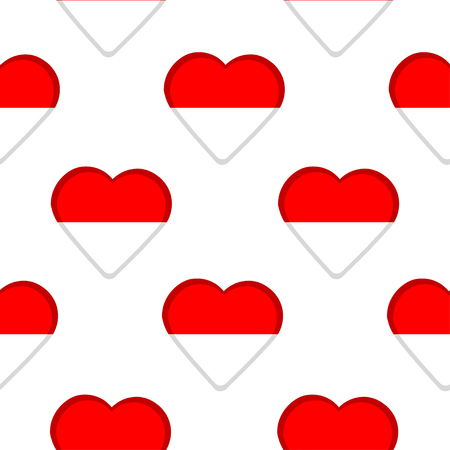 Seamless pattern from the hearts with flag of Indonesia. Illustration