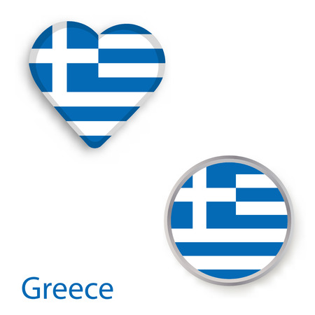 Heart and circle symbols with flag of Greece. Vector illustration