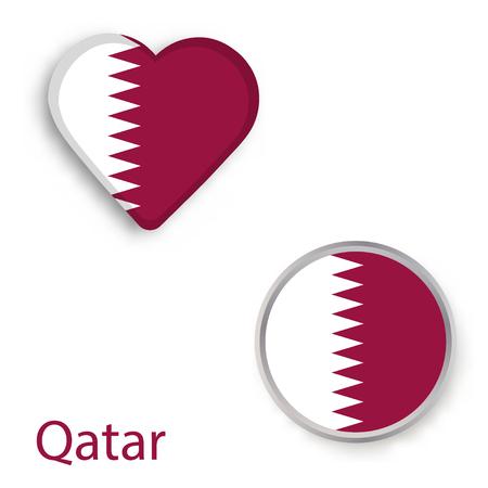 Heart and circle symbols with flag of Qatar. Vector illustration  Illustration
