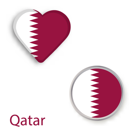 Heart and circle symbols with flag of Qatar. Vector illustration  Illustration