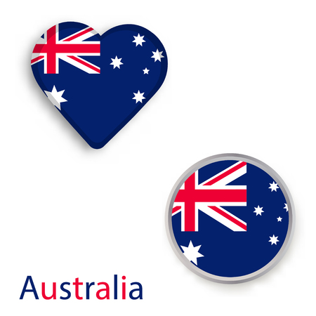 Heart and circle symbols with flag of Australia. Vector illustration Illustration