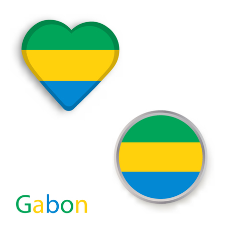 Heart and circle symbols with flag of Gabon. Vector illustration