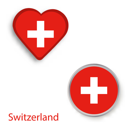 Heart and circle symbols with flag of Switzerland. Vector illustration