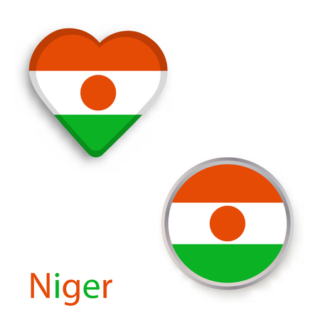 Heart and circle symbols with flag of Niger. Vector illustration