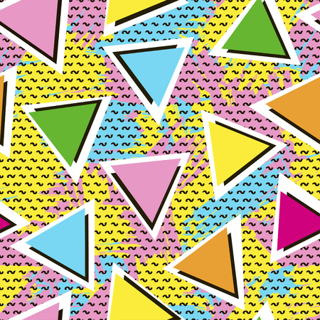 Colorful seamless pattern from triangles on the bright brush strokes background and black dots. 80s - 90s years design style, trendy vector illustration.