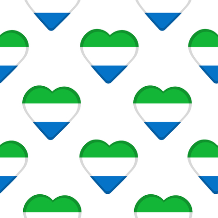 Seamless pattern from the hearts with flag of Sierra Leone. Vector illustration Illustration