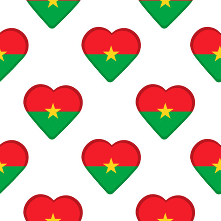 Seamless pattern from the hearts with flag of Burkina Faso. Vector illustration