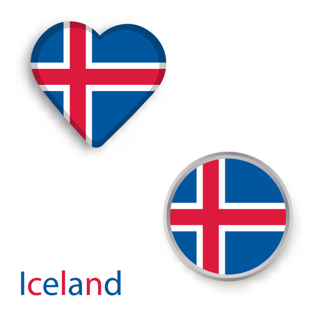 Heart and circle symbols with flag of Iceland. Vector illustration.