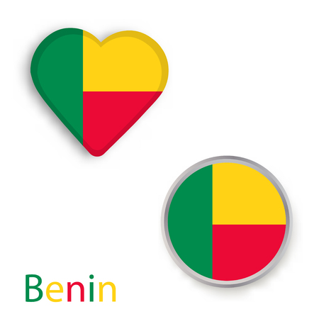 Heart and circle symbols with flag of Benin. Vector illustration. Illustration