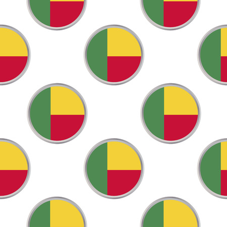 Seamless pattern from the circles with flag of Benin. Vector illustration.