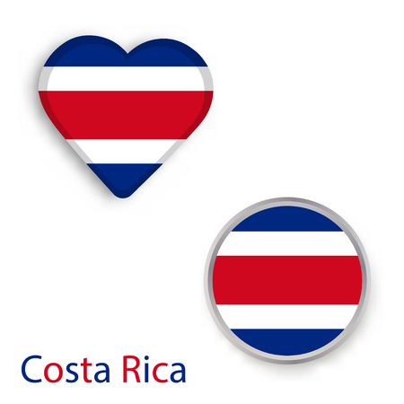 Heart and circle symbols with flag of Costa Rica. Vector illustration