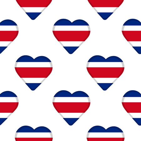 Seamless pattern from the hearts with flag of Costa Rica. Vector illustration Illusztráció