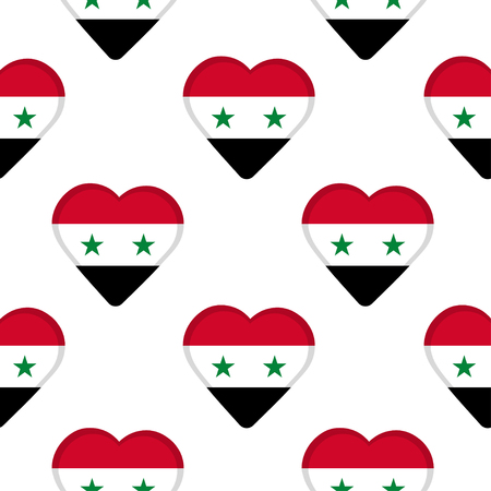 Seamless pattern from the hearts with flag of Syria. Vector illustration